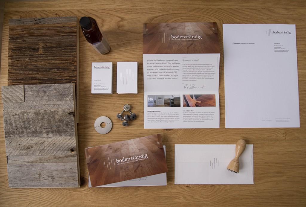 Marketingmaterialien für die Firma bodenständig, die nach der Design Entwicklung des Corporate Designs aufgebaut wurden.