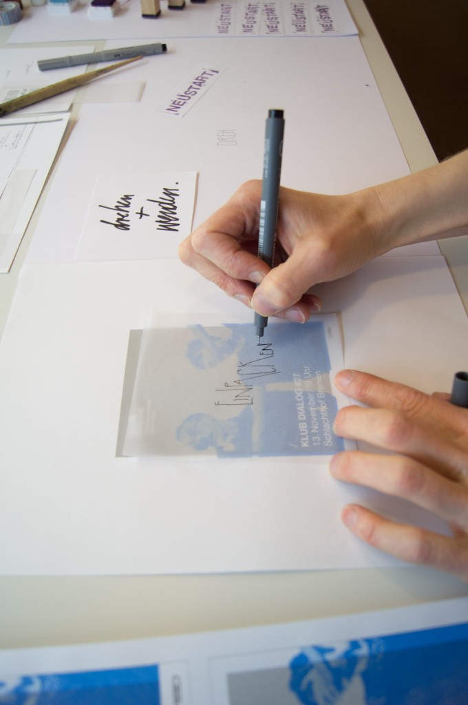 Entwurfsphase der handschriftlichen Umsetzung des neuen Erscheinungsbildes für den KLUB DIALOG