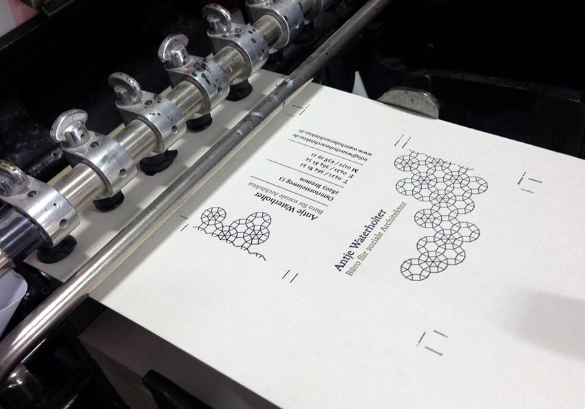 Letterpress Visitenkarten für Antje Waterholter frisch aus der Presse
