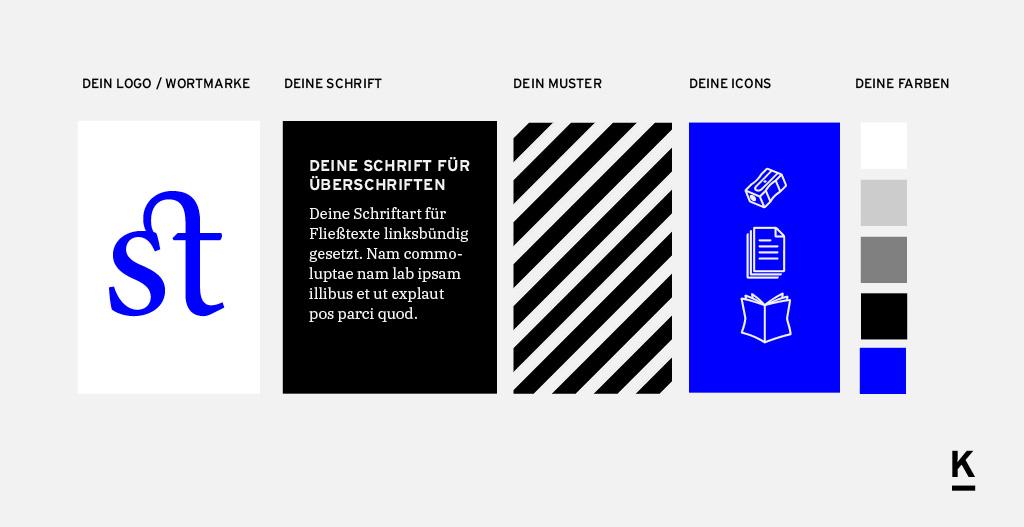 Beispiel für eine weitere Entwicklung von Bestandteilen eines Corporate Designs mit anderem Look