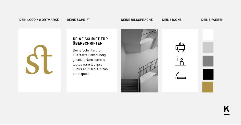 Beispiel für eine Entwicklung von Bestandteilen eines Corporate Designs